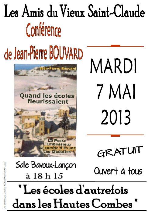Conférence de Jean-Pierre Bouvard sur les écoles d'autrefois dans les Hautes Combes. 2013-05-07_conference_jpb_01