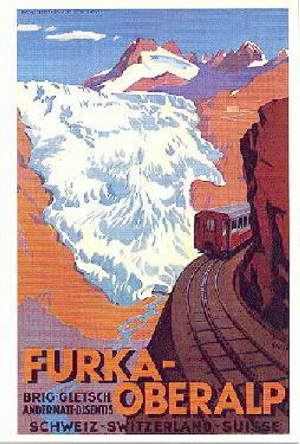 Entre Valais et Uri - La Furkabahn-Bergstrecke  Affiche