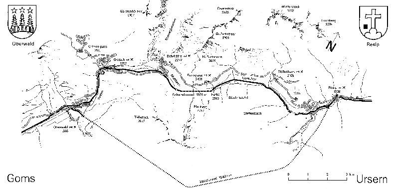 Entre Valais et Uri - La Furkabahn-Bergstrecke  Plan