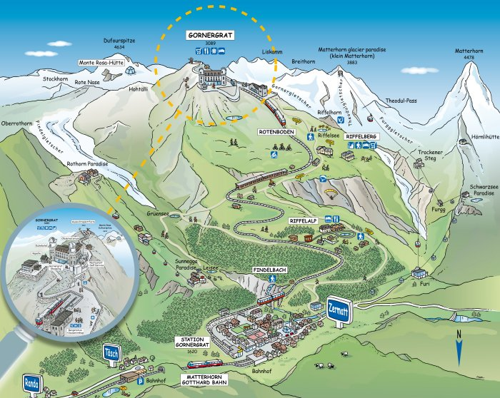 Excursion au Gornergrat - 9 août 2012 Carte