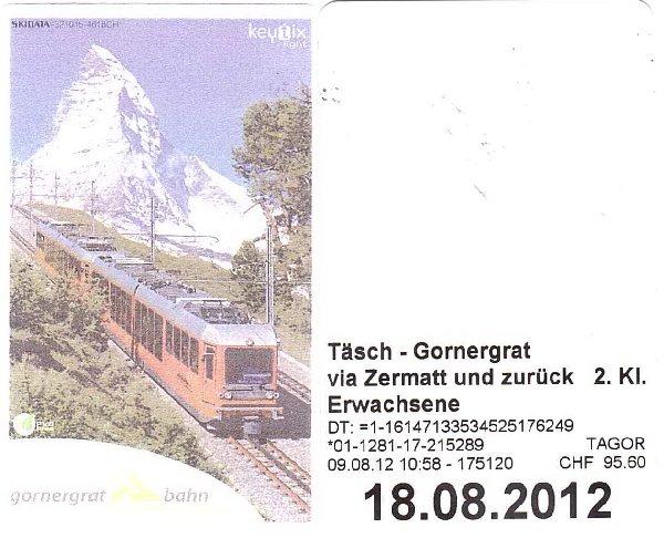 Excursion au Gornergrat - 9 août 2012 Ticket