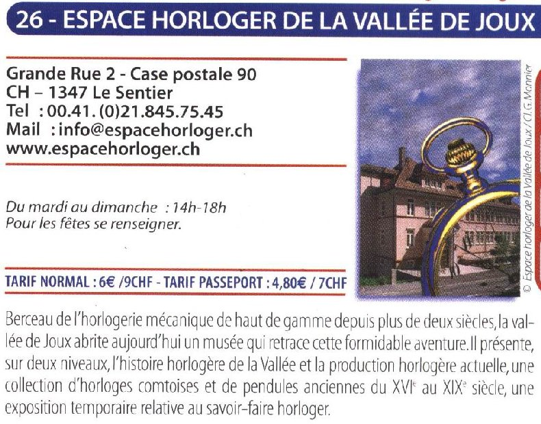L'Espace Horloger - Le Sentier - VD - Suisse 0054