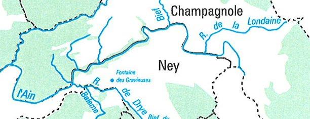 Le Ravin Mathieu, la Rivière d'Ain Carte